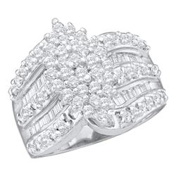1 CTW Round Diamond Marquise-shape Cluster Ring 14kt White Gold - REF-63R5H