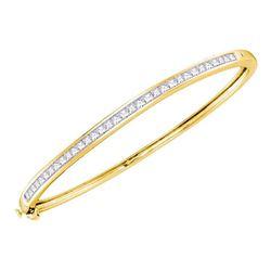 2 CTW Princess Diamond Bangle Bracelet 14kt Yellow Gold - REF-192A3N