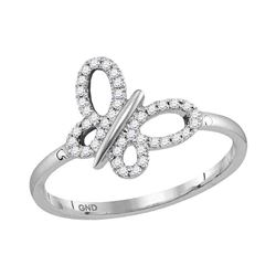 1/6 CTW Round Diamond Butterfly Bug Fashion Ring 10kt White Gold - REF-19N2Y