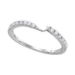 1/4 CTW Round Diamond 2-stone Wedding Ring 14kt White Gold - REF-24H3W