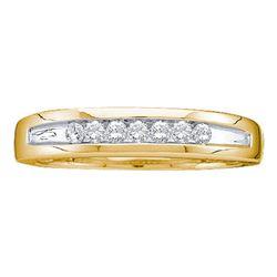 1/4 CTW Mens Round Channel-set Diamond Two-tone Single Row Wedding Ring 14kt Yellow Gold - REF-33W6F