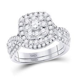 1 CTW Round Diamond Bridal Wedding Engagement Ring 14kt White Gold - REF-99K3R