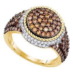 1 & 1/5 CTW Round Brown Diamond Cluster Ring 10kt Yellow Gold - REF-54K3R