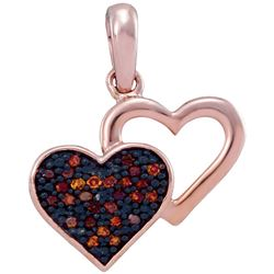 1/12 CTW Round Red Color Enhanced Diamond Heart Pendant 10kt Rose Gold - REF-8X4T