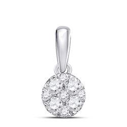 1/4 CTW Round Diamond Fashion Cluster Pendant 14kt White Gold - REF-21X5T
