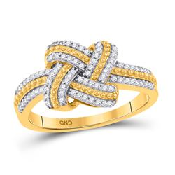 1/5 CTW Round Diamond Beaded Knot Fashion Ring 10kt Yellow Gold - REF-21Y5X