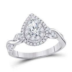 1 CTW Pear Diamond Solitaire Bridal Wedding Engagement Ring 14kt White Gold - REF-113X9T