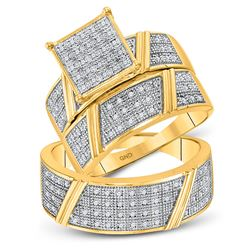 1/3 CTW His & Hers Round Diamond Cluster Matching Bridal Wedding Ring 10kt Yellow Gold - REF-60R3H