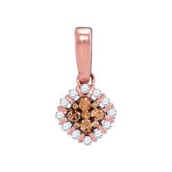 1/4 CTW Round Brown Diamond Diagonal Square Pendant 14kt Rose Gold - REF-21A5N