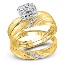 1/5 CTW His & Hers Round Diamond Cluster Matching Bridal Wedding Ring 10kt Yellow Gold - REF-35R9H