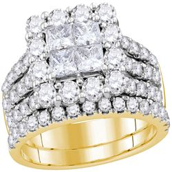 3 CTW Princess Diamond Cluster Bridal Wedding Engagement Ring 14kt Yellow Gold - REF-239A9N
