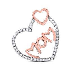 1/5 CTW Round Diamond Mom Heart Pendant 10kt Rose Gold - REF-11R9H