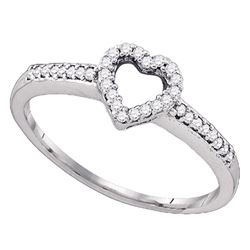 1/6 CTW Round Diamond Heart Ring 10kt White Gold - REF-13T2K