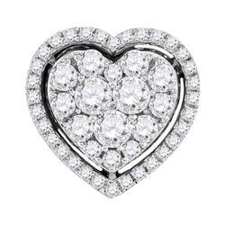 1 CTW Round Diamond Frame Heart Cluster Pendant 10kt White Gold - REF-71Y9X