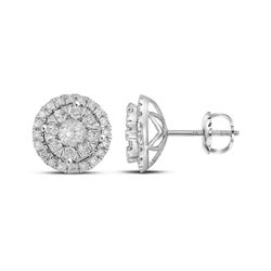 1 CTW Round Diamond Concentric Circle Frame Cluster Earrings 14kt White Gold - REF-90M3A