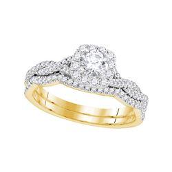 5/8 CTW Round Diamond Twist Bridal Wedding Engagement Ring 14kt Yellow Gold - REF-77R9H