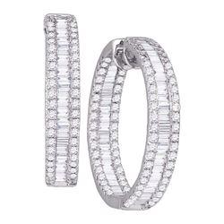 3 & 1/2 CTW Baguette Diamond Inside Outside Hoop Earrings 14kt White Gold - REF-251X9T