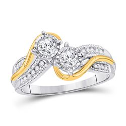1/2 CTW Round Diamond 2-stone Bridal Wedding Engagement Ring 14kt Two-tone Gold - REF-71W9F