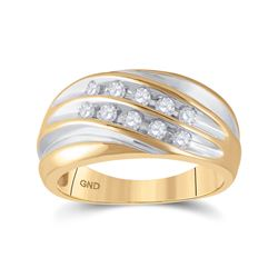 1/2 CTW Mens Round Diamond Wedding Ring 10kt Yellow Gold - REF-35N9Y