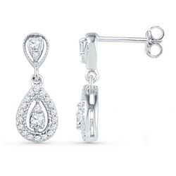 1/3 CTW Round Diamond Teardrop Dangle Screwback Earrings 10kt White Gold - REF-27M5A