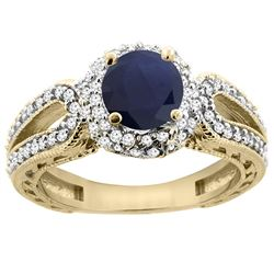 1.55 CTW Blue Sapphire & Diamond Ring 14K Yellow Gold - REF-118F3N