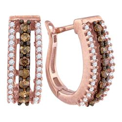 1/2 CTW Brown White Diamond Pave Hoop Earrings 10kt Rose Gold - REF-27R5H