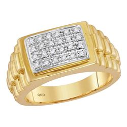 1/5 CTW Mens Round Diamond Rectangle Cluster Ribbed Side Ring 10kt Yellow Gold - REF-38Y3X
