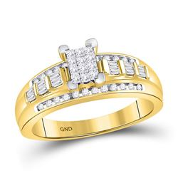 1/2 CTW Princess Diamond Cluster Bridal Wedding Engagement Ring 10kt Yellow Gold - REF-30H3W