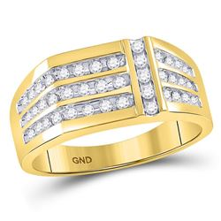1/2 CTW Mens Round Diamond Triple Row Intersecting Fashion Ring 14kt Yellow Gold - REF-41H9W