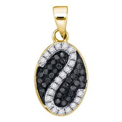 1/4 CTW Round Black Color Enhanced Diamond Oval Stripe Cluster Pendant 10kt Yellow Gold - REF-13K2R