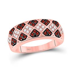1/2 CTW Round Red Color Enhanced Diamond Checkered Ring 10kt Rose Gold - REF-25Y5X