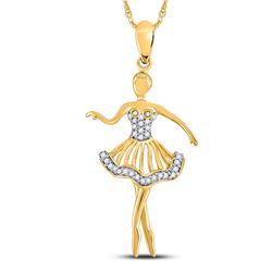 1/10 CTW Round Diamond Ballerina Dancer Fashion Pendant 10kt Yellow Gold - REF-10H8W