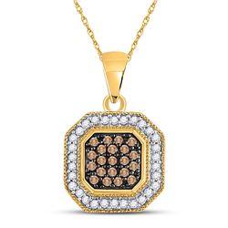 1/3 CTW Round Brown Diamond Octagon Cluster Pendant 10kt Yellow Gold - REF-14H4W