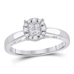 1/4 CTW Princess Diamond Cluster Bridal Wedding Engagement Ring 14kt White Gold - REF-35Y9X