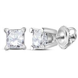 1/2 CTW Unisex Princess Diamond Solitaire Stud Earrings 14kt White Gold - REF-47M9A