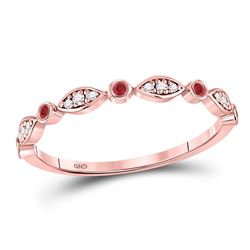 1/10 CTW Round Ruby Oval Dot Stackable Ring 10kt Rose Gold - REF-13X2T