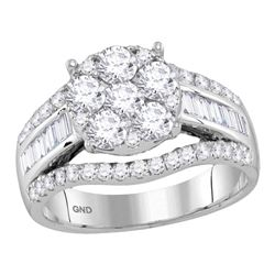 1 & 7/8 CTW Round Diamond Cluster Bridal Wedding Engagement Ring 14kt White Gold - REF-149A9N