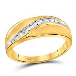 1/8 CTW Mens Round Diamond Single Row Ring 10kt Yellow Gold - REF-22H8W