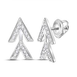 1/10 CTW Round Diamond Fashion Earrings 14kt White Gold - REF-10R8H