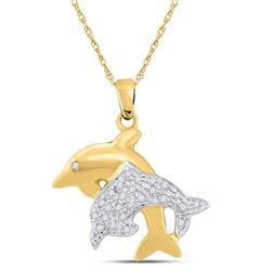 1/8 CTW Round Diamond Double Dolphin Fish Animal Pendant 10kt Yellow Gold - REF-14M4A