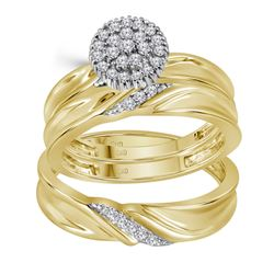 1/4 CTW Diamond His & Hers Matching Trio Wedding Engagement Bridal Ring 10kt Yellow Gold - REF-39A6N