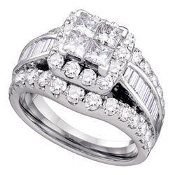 2 CTW Princess Diamond Cluster Bridal Wedding Engagement Ring 14kt White Gold - REF-167R9H