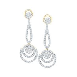 1 CTW Round Diamond Circle Cluster Dangle Earrings 10kt Yellow Gold - REF-81T5K