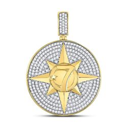 2 & 3/8 CTW Mens Round Diamond Compass Rose Lucky 7 Charm Pendant 10kt Yellow Gold - REF-156Y3X