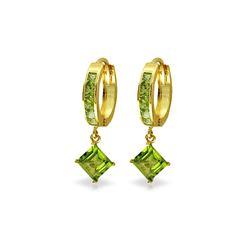 Genuine 4 ctw Peridot Earrings 14KT Yellow Gold - REF-53R2P