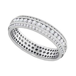 1 CTW Round Diamond Bridal Wedding Eternity Ring 10kt White Gold - REF-65R9H