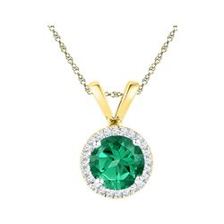 7/8 CTW Lab-Created Emerald Solitaire & Diamond Halo Pendant 10kt Yellow Gold - REF-9Y6X