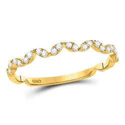1/5 CTW Round Diamond Zigzag Stackable Ring 10kt Yellow Gold - REF-15R5H
