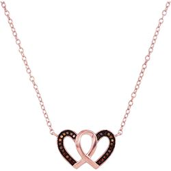 1/10 CTW Round Red Color Enhanced Diamond Heart Necklace 10kt Rose Gold - REF-11F9M