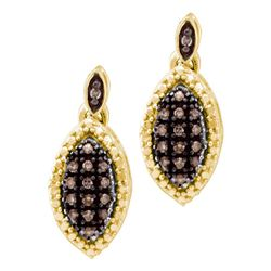 1/3 CTW Round Brown Diamond Dangle Earrings 10kt Yellow Gold - REF-16W8F